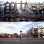 Top: Fire crews douse burnt out buildings on London Road in Croydon, Surrey, following a a third night of civil unrest on the streets of London. Bottom: today.