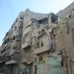 House damaged by an airstrike in the Tariq al-Bab district, Aleppo, Syria, August 2012.