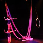 Ether uses silks, aerial hoop and pole in a playful and inventive mix. And we also stack people. Image: Daryl Feehely.