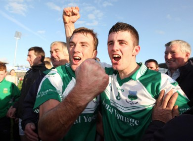 James Woodlock and Johnny Ryan of Drom & Inch celebrate after last year's county final.