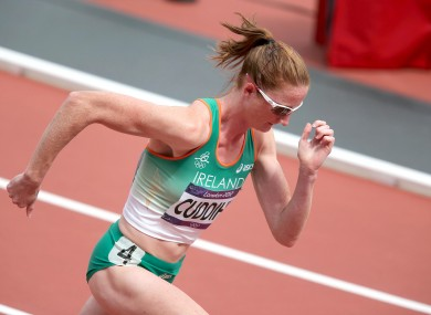 Cuddihy on the way to fourth place of her 400m heat.