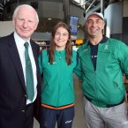 Katie Taylor with OCI chief Pat Hickey and her father and coach Pete Taylor.