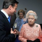 Queen Elizabeth II with Prime Minister David Cameron as they arrive for the Olympic Games 2012 Opening Ceremony at the Olympic Stadium, London. PRESS ASSOCIATION Photo. Picture date: Friday July 27, 2012. See PA story OLYMPICS Ceremony. Photo credit should read: John Stillwell/PA Wire. EDITORIAL USE ONLY