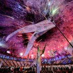 Fireworks during the London Olympic Games 2012 Opening Ceremony at the Olympic Stadium, London.