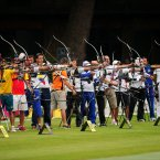 A general view of the Men's Individual Archery Ranking Round, Lord's Cricket Ground, London. PRESS ASSOCIATION Photo. Picture date: Friday July 27, 2012. See PA story OLYMPICS . Photo credit should read: Adam Davy/PA Wire. EDITORIAL USE ONLY