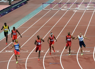 Dominican Republic's Felix Sanchez (third left) wins the men's 400 metres hurdles final.
