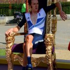 Great Britain's Bradley Wiggins sits on his throne after winning the Men's Individual Time Trial on day five of the London Olympic Games at Hampton Court Palace, London.