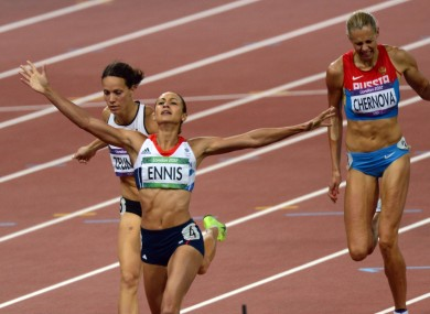 Jessica Ennis basks in her gold medal win after the 800m.