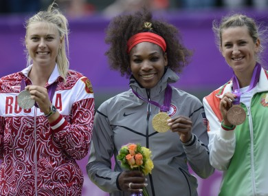 Serena Williams, Russia's Maria Sharapova and Belarus' Victoria Azarenka with their Olympic medals last month.