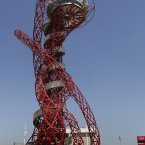 The Orbit tower at the Orbit Olympic Circus.(Daniel Ochoa De Olza/AP Photo)