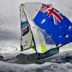 Australia's Nathan Outteridge and Iain Jensen practice before starting the 49er class race at the London 2012 Summer Olympics, Wednesday, Aug. 1, 2012, in Weymouth and Portland, England. (AP Photo/Bernat Armangue)