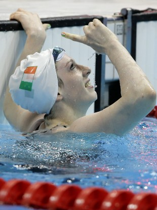 Ireland's Bethany Firth celebrates winning gold in the women's 100m Backstroke S14 final at the 2012 Paralympics.