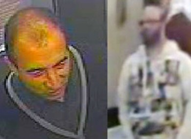 CCTV images of the two men wanted in connection with the rape of the 14-year-old