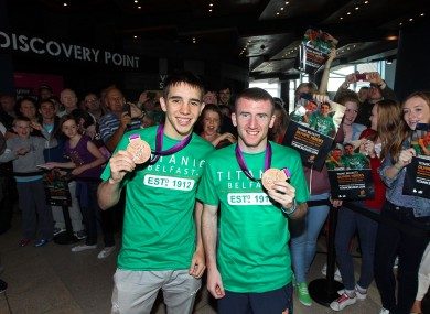 Bronze medallists Michael Conlan and Paddy Barnes yesterday.