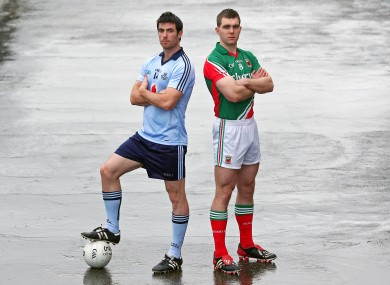Dublin's Michael Dara MacAuley and Mayo's Seamus O'Shea.