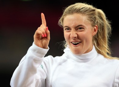 Natalya Coyle celebrates a fencing win at the Copperbox.