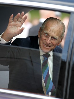 The Duke of Edinburgh, Prince Philip, waves during a visit to Scone Palace in Perth, Scotland, last month.