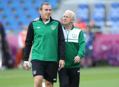 Richard Dunne and Giovanni Trapattoni during the Euro 2012 campaign.
