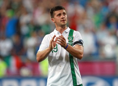 Shane Long applauds the Irish supporters at Euro 2012.