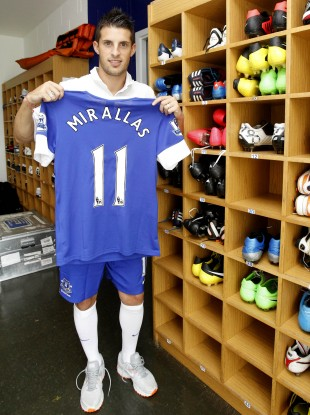 Everton's new signing Kevin Mirallas at Finch Farm. 