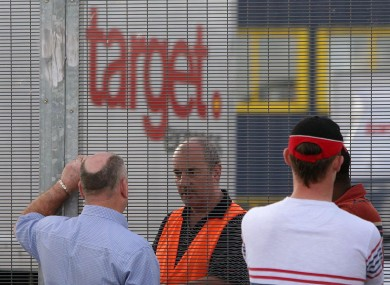 Sub-contractors block the entrance to the Target Express haulage company in west Dublin