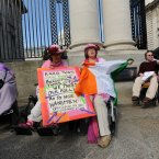 Pictured outside Government Buildings are twins Ann and Margaret Kennedy from Greystones in County Wicklow. Image: Sasko Lazarov/Photocall Ireland