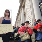 Pictured outside Government Buildings today were Independent TD Clare Daly and Dara Carroll and Mary Collins from Dublin. Image: Sasko Lazarov/Photocall Ireland