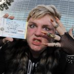 Danny Crave (19) from Finglas showing his ticket for tonight's Lady Gaga's 'Born this Way Ball' at the Aviva Stadium. Danny arrived at 7am yesterday morning to wait in line for the show.