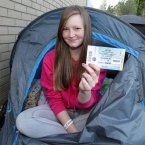 Lady Gaga fan Gemma Behan (20) prepares to camp out for the 10th night outside the Aviva Stadium.