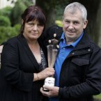Pictured are Brenda and John Jones who are accepting the posthumously awarded People of the Year Award for their son Garda Ciaran Jones. Photo: Mark Stedman/Photocall Ireland