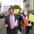 Pictured is Independent Waterford TD John Halligan marching to Leinster House with the protestors. Photo: Sam Boal/Photocall Ireland