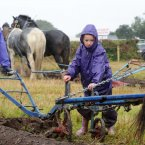 Caroline Larcher and her 7-year-old daughter Roisin from Galway compete in the horse ploughing. Photo: Laura Hutton/Photocall Ireland