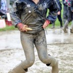 Emily Mazilu from Maynooth enjoys the mud at the National Ploughing Championships in Co Wexford this afternoon. Photo: Laura Hutton/Photocall Ireland