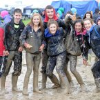 A group of teenagers from Maynooth enjoy the mud at the National Ploughing Championships. Photo: Laura Hutton/Photocall Ireland