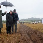 President Michael D Higgins is shown some ploughing by under-21 competitor Sean Tracey. Photo: Laura Hutton/Photocall Ireland