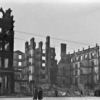 All that remained of the Metropole Hotel, beside the GPO on Sackville Street (now O'Connell Street), after the Easter Rising, 1916. This site is now occupied by Penney's Department Store.