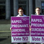 Members of the Alliance For a No Vote protesting outside the National Concert Hall Dublin where Fianna Fáil were holding a women's conference on 23 February 2002. Image: Photocall Ireland