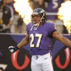 Baltimore Ravens running back Ray Rice runs onto the field before an NFL football game against the Cincinnati Bengals in Baltimore.