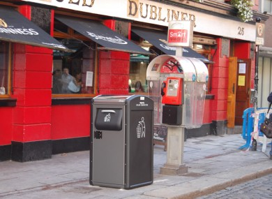 One of the 'Big Belly' solar compactor bins in situ in Temple Bar.