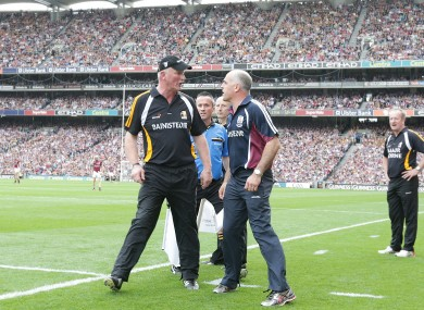 Brian Cody and Anthony Cunningham before the end of the drawn All-Ireland final.