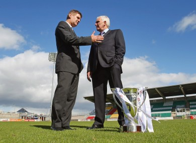 Shamrock Rovers new Director of Football Brian Laws meets Drogheda United manager Mick Cooke in Tallaght Stadium on Tuesday.