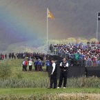 2010: A rainbow appears behind Rory McIlroy and Sergio Garcia.