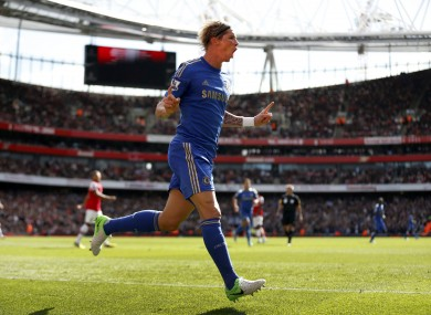 Chelsea's Fernando Torres celebrates his opening goal.