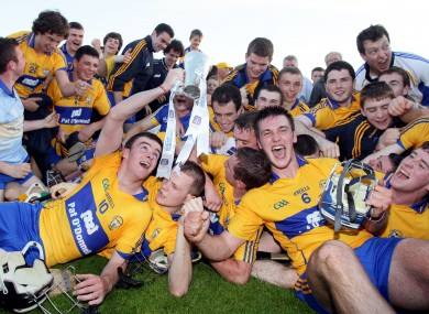 Clare players celebrating after their Munster U21 final triumph.