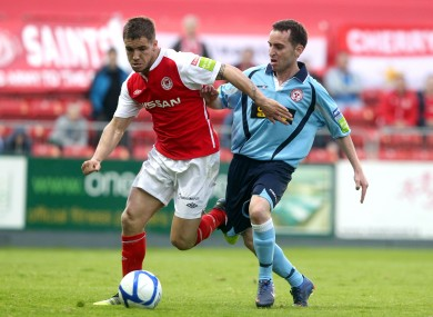 We meet again: St Pats' Daren Meenan and Barry Clancy of Shelbourne (file photo).