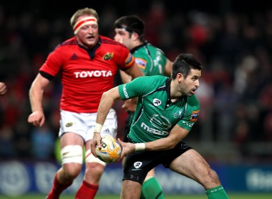 Frank Murphy distributes the ball against Munster last season.