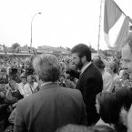Sinn Féin President Gerry Adams addresses the crowd at Connolly House. He is watched by Martin McGuinness on 31 August 1994.