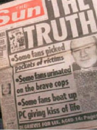 The frontpage of The Sun newspaper days after the disaster containing allegations that were later proved to be entirely false.
