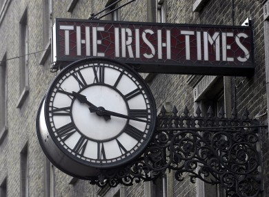 The famous Irish Times clock, hanging outside the paper's previous headquarters on D'Olier St.