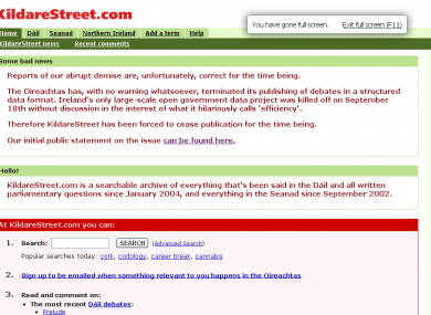 KildareStreet.com has been rendered defunct by the Oireachtas' transition to a new debates website which lacks the necessary features.
